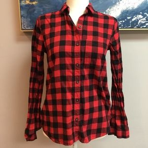 """Red and Black """"Buffalo"""" Flannel Button Down"""